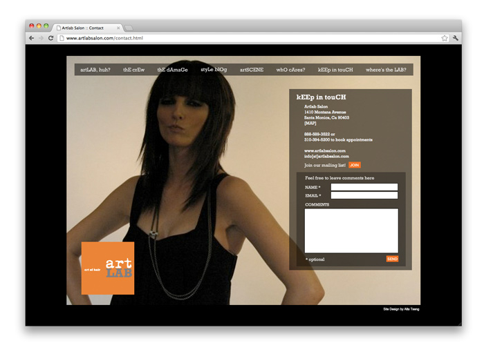artLAB Salon<br>Website Design