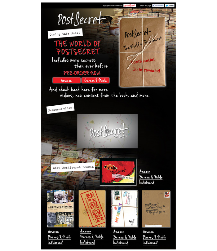 The World of PostSecret<br> Pre-Unveiling Package<br> + Digital Marketing