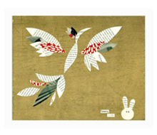 Year of the Rabbit e-Card<br>Paper on Wood