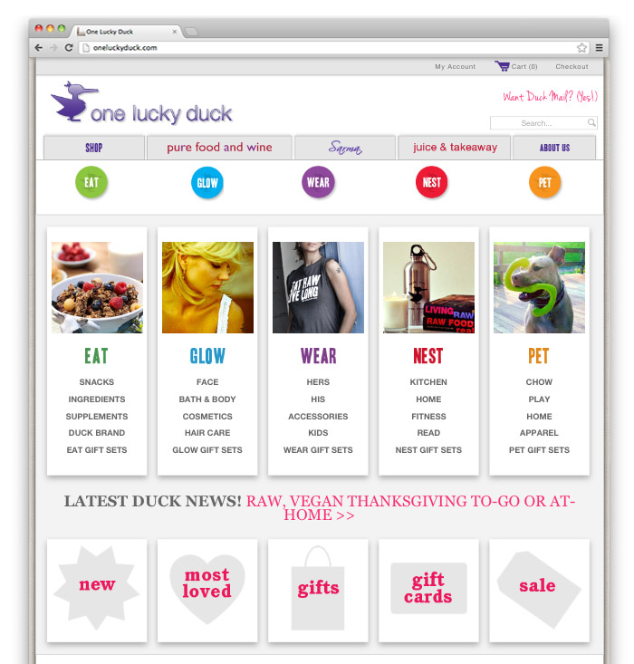 One Lucky Duck <br> E-Commerce Site