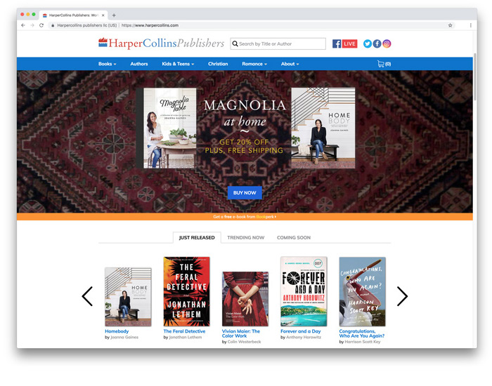 HarperCollins Publishers<br>e-Commerce Site<br>Art Direction